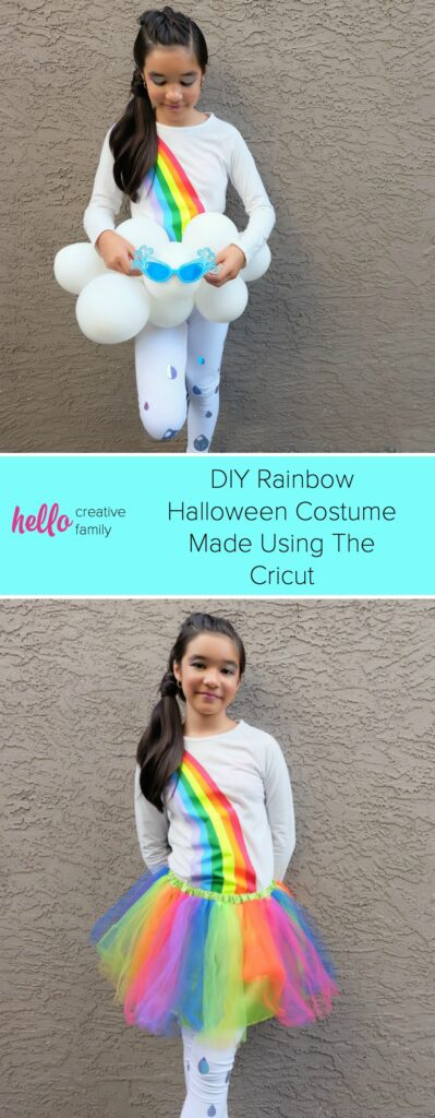 Create an Easy DIY Rainbow Halloween Costume out of leggings and a white shirt using your Cricut Maker or Cricut Explore Air 2! It's the perfect tween Halloween Costume! We're sharing step by step photos and the cut file to create this costume at home! #Cricut #HalloweenCostume #Rainbow #CricutCreated #Sponsored