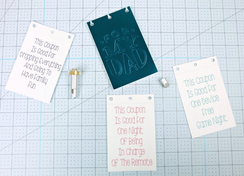 Learn how to make a DIY Dad Coupon Book using your Cricut Maker Adaptive Tools! This handmade gift is the perfect gift for Dad for Father's Day, birthdays or Christmas! #CricutMaker #DadGift #handmadegift #GiftForDad #sponsored