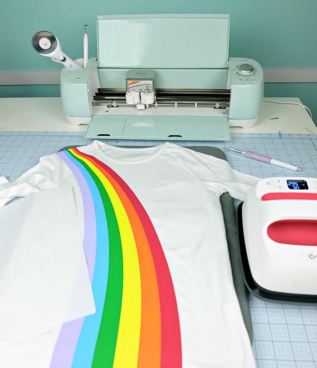 Adorable rainbow shirt made using the Cricut Explore Air 2