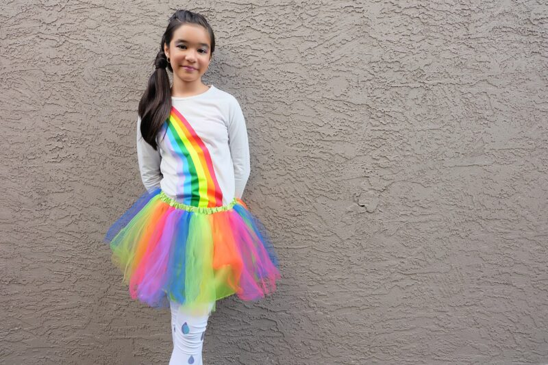 Create an Easy DIY Rainbow Halloween Costume out of leggings and a white shirt using your Cricut Maker or Cricut Explore Air 2! We're sharing step by step photos and the cut file to create this costume at home! #Cricut #HalloweenCostume #Rainbow #CricutCreated #Sponsored