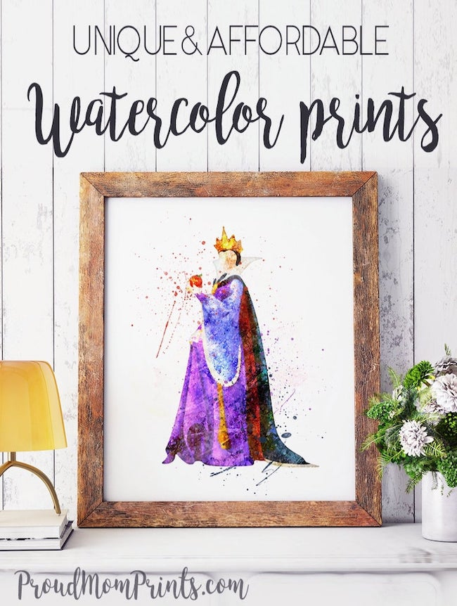 25 Hocus Pocus and Disney Villains SVGs and Printables: Disney Evil Queen Watercolor Printable from Proud Mom Art