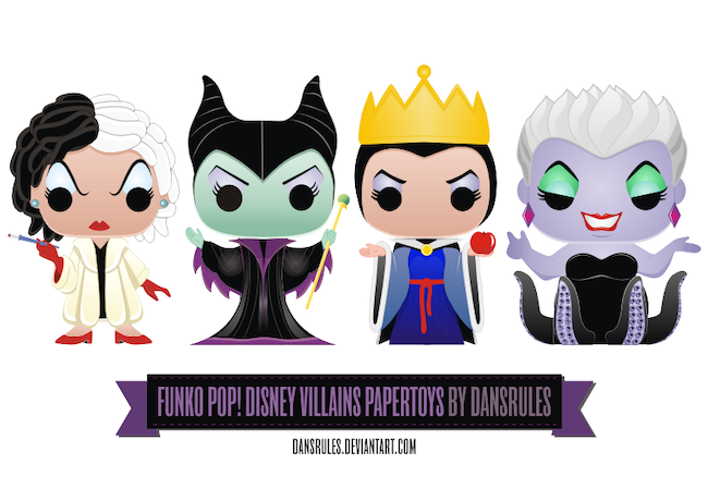 25 Hocus Pocus and Disney Villains SVGs and Printables: Funko Pop Disney Villain Paper Toys Printable from Dansrules