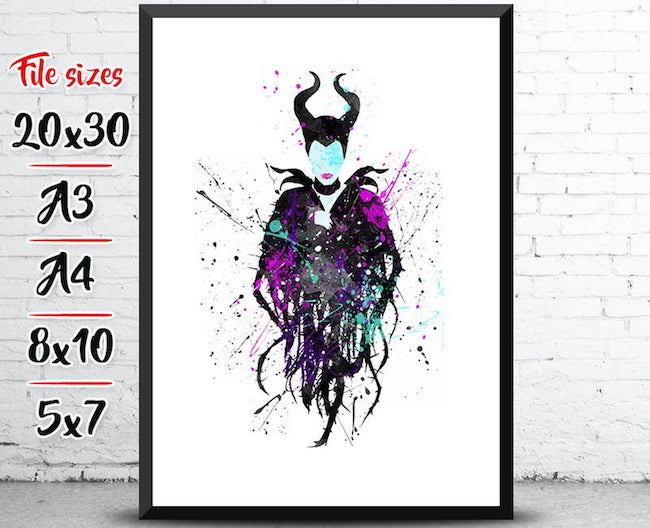 25 Hocus Pocus and Disney Villains SVGs and Printables: Maleficent Splatter Paint Printable from Design Toons