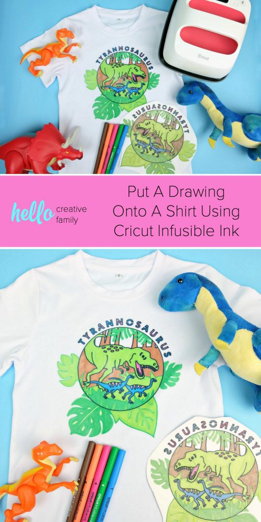 Learn how to put your drawing onto a shirt using Cricut Infusible Ink to make the most adorable dinosaur shirt! The perfect way to turn a child's drawing into something they can wear! Perfect for a dinosaur birthday #Cricut #InfusibleInk #Dinosaur #DinosaurBirthday