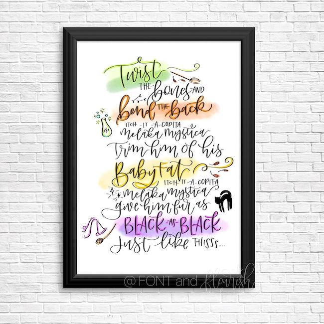 25 Hocus Pocus and Disney Villains SVGs and Printables: Thackery Binx Spell Printable from Font and Flourish