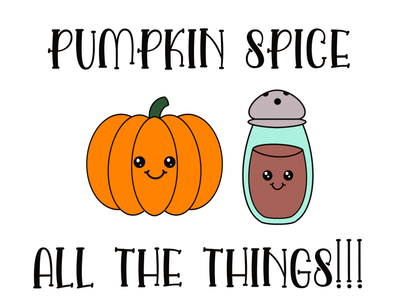 Adorable Kawaii Pumpkin Spice All The Things Free SVG File perfect for fall from Hello Creative Family