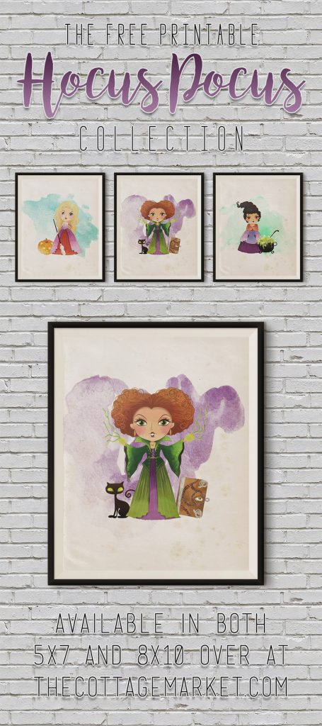 25 Hocus Pocus and Disney Villains SVGs and Printables: Watercolor Sanderson Sister Printables from The Cottage Market
