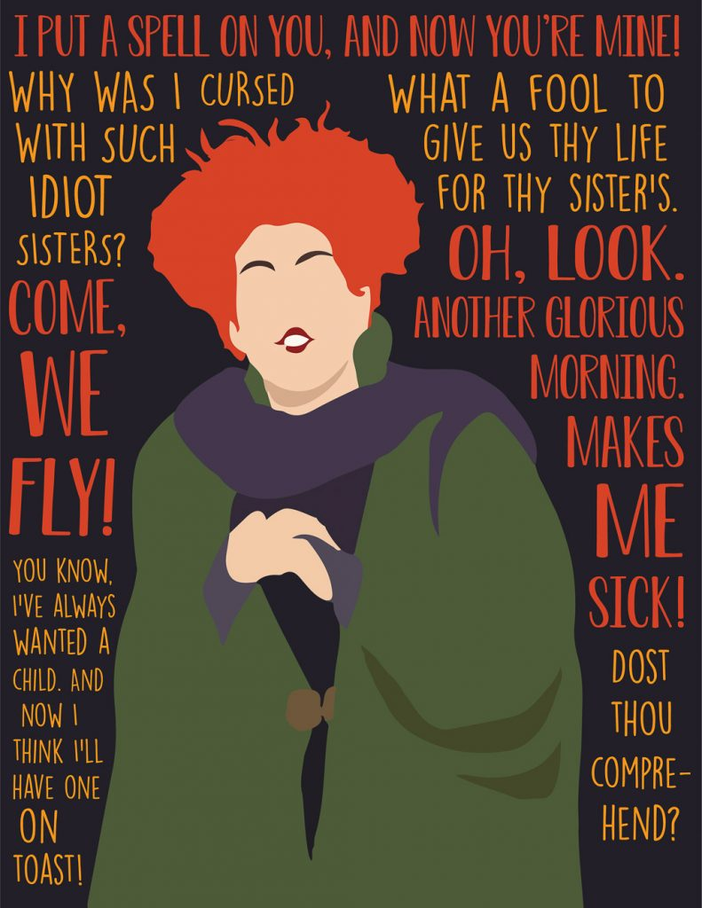 Hocus Pocus and Disney Villains SVGs and Printables: Winifred Sanderson Hocus Pocus Quotes Printable from Costume Supercenter