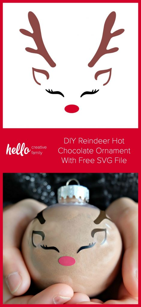 Learn how to make a DIY Reindeer Hot Chocolate Ornament using your Cricut Maker or Cricut Explore! These easy ornaments make a great handmade teacher's gift and gifts for kids. Includes a free Reindeer Face SVG File. #FreeSVG #CricutChristmas #CricutCrafternoon #HandmadeGifts #CricutCreated