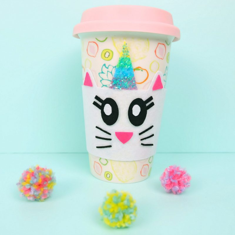 Caticorn Coffee Cup Cozy from The Book Caticorn Crafts by Crystal Allen of Hello Creative Family. #Caticorn #Unicorn #CaticornCrafts #UnicornCrafts