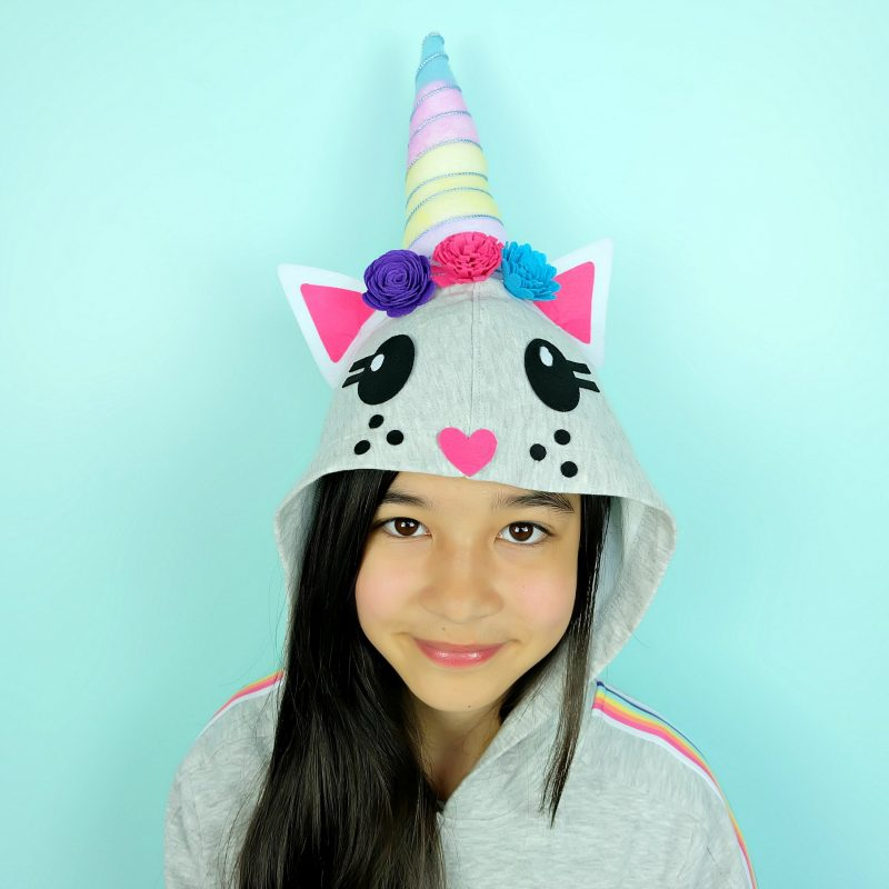 DIY No Sew Caticorn Hoodie from The Book Caticorn Crafts by Crystal Allen of Hello Creative Family. #Caticorn #Unicorn #CaticornCrafts #UnicornCrafts