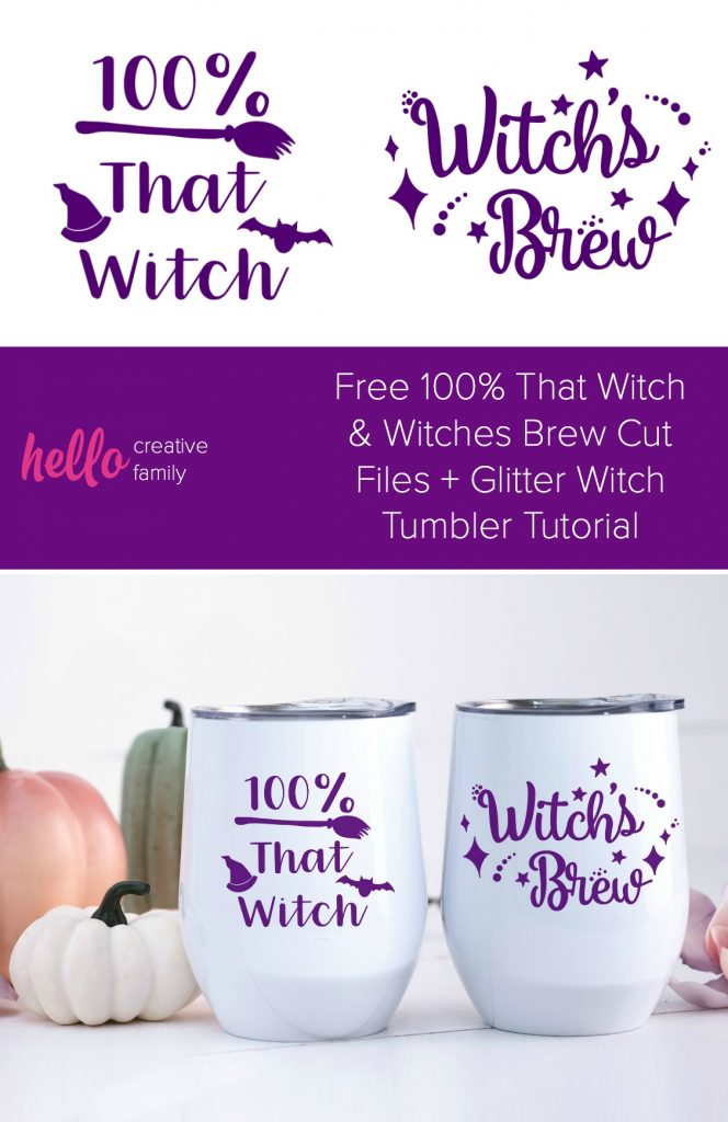 Brighten up your wine tumbler with a fun Halloween Themed DIY decal! We're sharing a free 100% That Witch SVG and a Witch's Brew SVG file along with instructions to make a fun Halloween themed glitter wine tumbler! #Cricut #Halloween #DIY #Glitter #FreeSVG