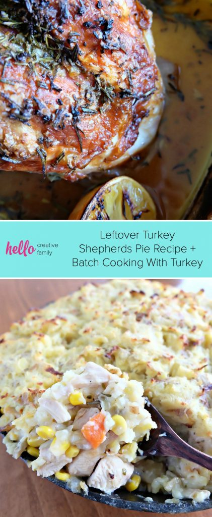 Filled with all the delectable flavors of Thanksgiving, our Leftover Turkey Shepherds Pie Recipe is going to become your FAVORITE thing to do with your Thanksgiving leftovers! Delicious enough for Sunday supper but easy enough for a family friendly weekday meal. We're also giving you our tips for batch cooking! #Thanksgiving #ThanksgivingLeftovers #Shepherds Pie #Recipe #batchcooking