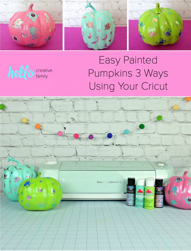 These easy painted pumpkins add some flare to dollar store craft pumpkins by using a bit of paint and vinyl Halloween decals you cut using your Cricut! #DIYHalloween #CricutCreated #Cricut #CraftPumpkins