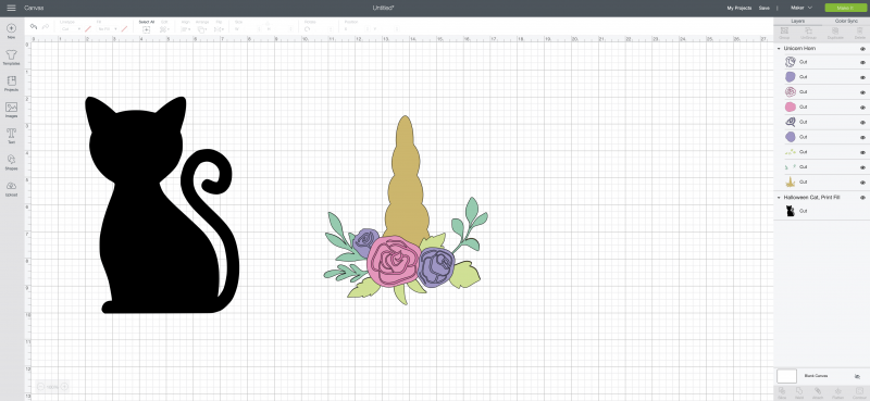 Steps for using Cricut Design Space to create a Caticorn.