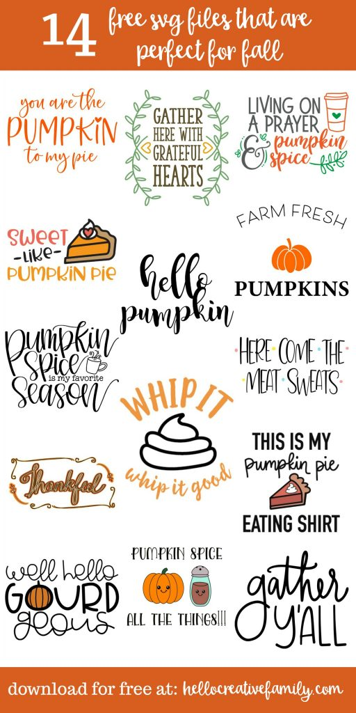 Fall is here and that means pumpkin spice! We're sharing 14 free SVG cut files for fall including a Kawaii Pumpkin Spice cut file, Thanksgiving SVG Files and Pumpkin cut files! Cut these autumn designs using your Cricut or Silhouette. #SVG #Cricut #Silhouette #CutFiles