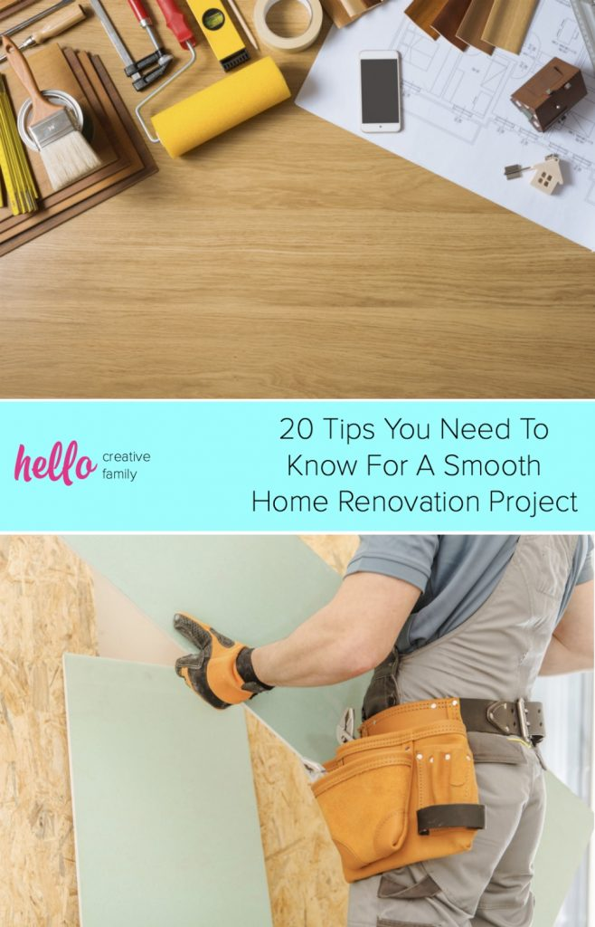 Have a kitchen renovation planned? Remodeling any room of your home can be a daunting task! Check out these 20 tips to ensure a smooth home renovation project! #Homerenovation #remodel #renovation #kitchen #bathroom #DIY