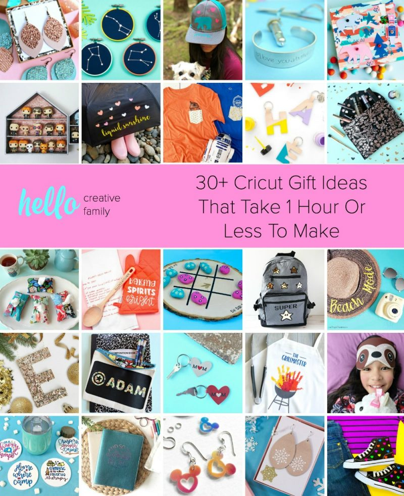 30+ Cricut Gift Ideas That Take 1 Hour Or Less To Make! Looking for an easy last minute handmade gift idea to make with your Cricut? Look no further! Includes gift ideas for moms, dads, kids, tweens and teens! #Sponsored #Cricut #CricutCreated #HandmadeGifts #CricutCrafts #DIYGifts