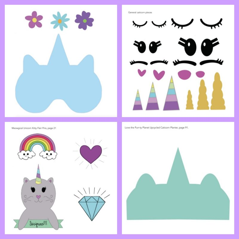 Caticorn Crafts Templates from The Book Caticorn Crafts by Crystal Allen of Hello Creative Family. #Caticorn #Unicorn #CaticornCrafts #UnicornCrafts