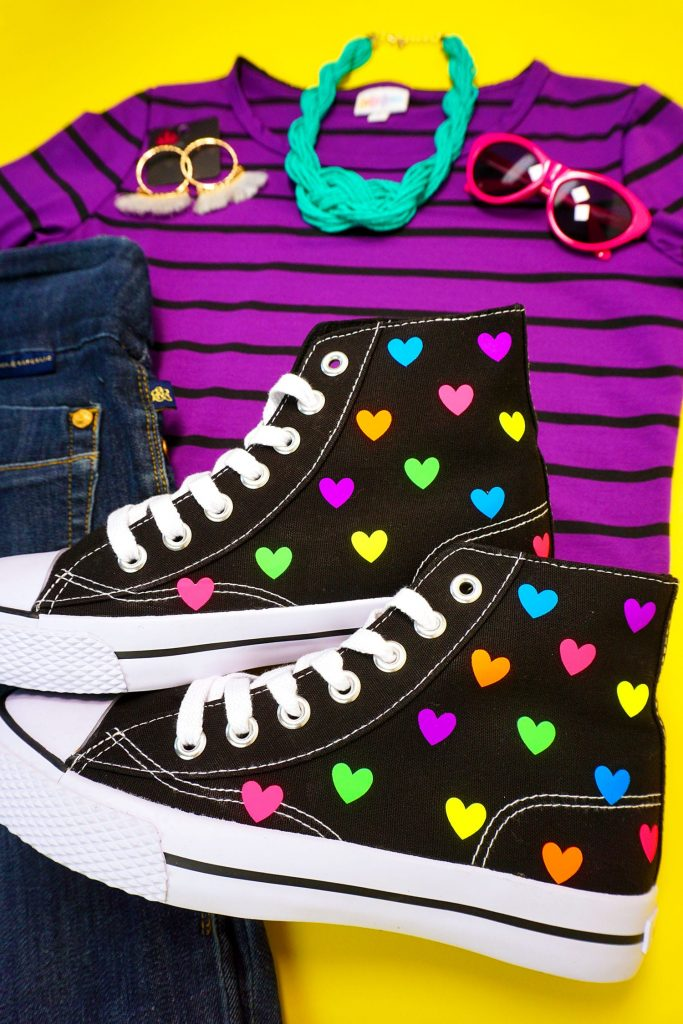 27 Cricut Gift Ideas That Take 1 Hour Or Less To Make: Rainbow Heart High Tops