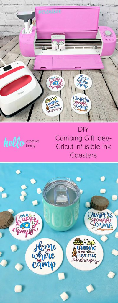 Use your Cricut Maker or Cricut Explore to make a one of a kind camping gift idea! These DIY Cricut Infusible Ink Coasters have campers and camping quotes on them and are the perfect handmade gift for someone who loves to camp! #Sponsored #CricutMade #CricutCreated #HandmadeGift #DIYGift