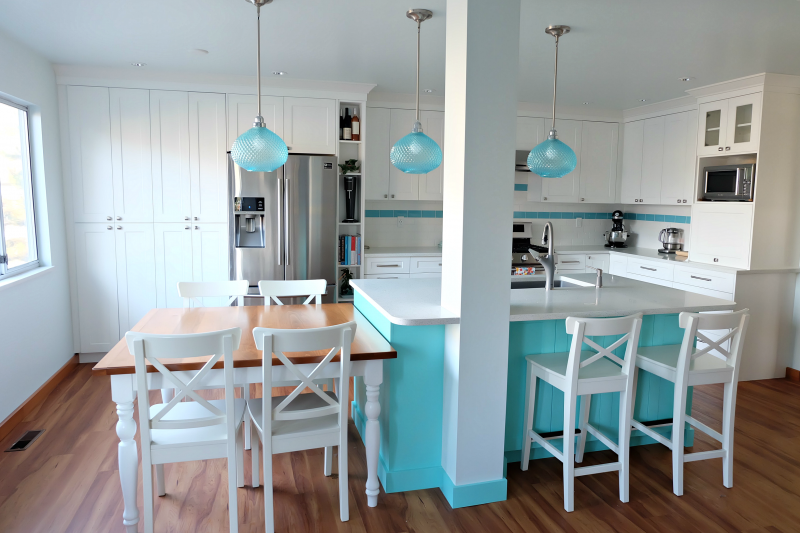 Hello Creative Family selected a palette of white, grey, teal, turquoise and aqua for their kitchen renovation! This DIY turquoise kitchen remodel includes a colorful island and other smart features. Also check out her 20 Tips for a Smooth Kitchen Renovation! #Sponsored #Turquoise #Kitchen #Aqua #KitchenRemodel #kitchenrenovation