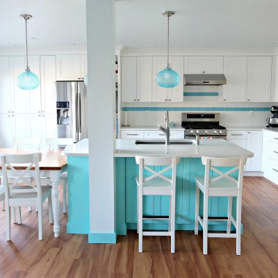 Hello Creative Family selected a palette of white, grey, teal, turquoise and aqua for their kitchen renovation! This DIY aqua kitchen remodel includes a colorful island and other smart features. Also check out her 20 Tips for a Smooth Kitchen Renovation! #Sponsored #Turquoise #Kitchen #Aqua #KitchenRemodel #kitchenrenovation