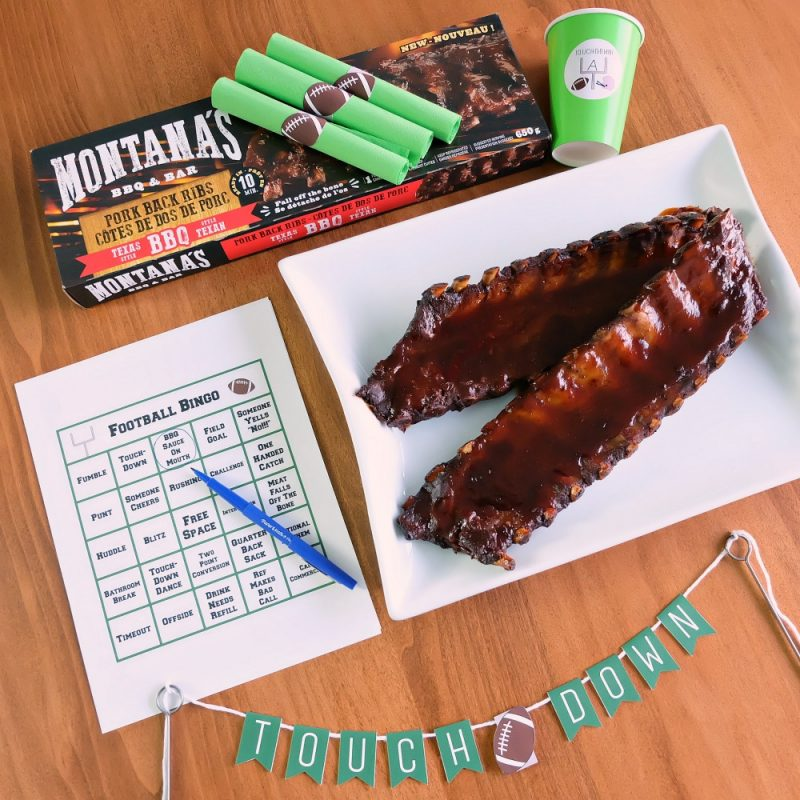 Get your end zone dance ready! We're getting you football season ready with Montana's bbq ribs and 4 free football printables perfect for the super bowl or the grey cup! Includes football bingo, drink cup labels, football napkin wraps and a touchdown banner. #MontanasRibsinSupermarket #sponsored #football #Printables