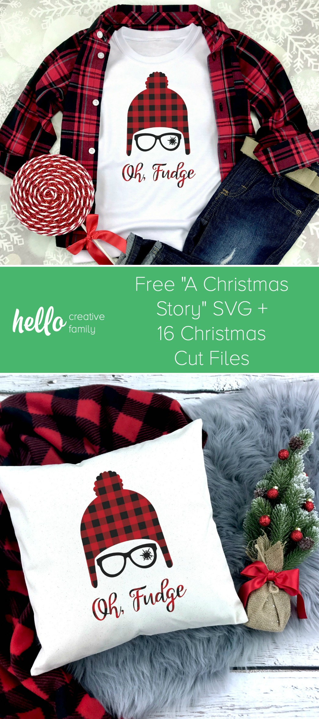 "We're sharing a free A Christmas Story SVG file with one of our favorite movie lines ""Oh Fudge"". Find this cut file along with 15 other Christmas cut files to cut with your Cricut Maker, Cricut Explore or Silhouette! #Cricut #Christmas #AChristmasStory #FreeSVG"