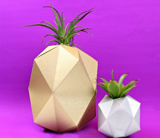 27 Cricut Gift Ideas That Take 1 Hour Or Less To Make: Geometric Pineapple Planter from Mad In Crafts