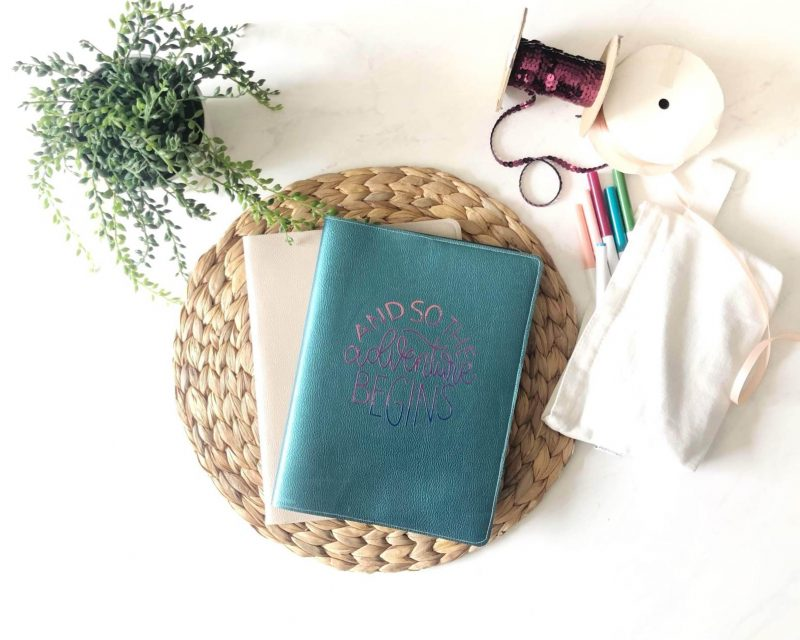 27 Cricut Gift Ideas That Take 1 Hour Or Less To Make: Leather Travel Journal Cover from Brooklyn Berry Designs