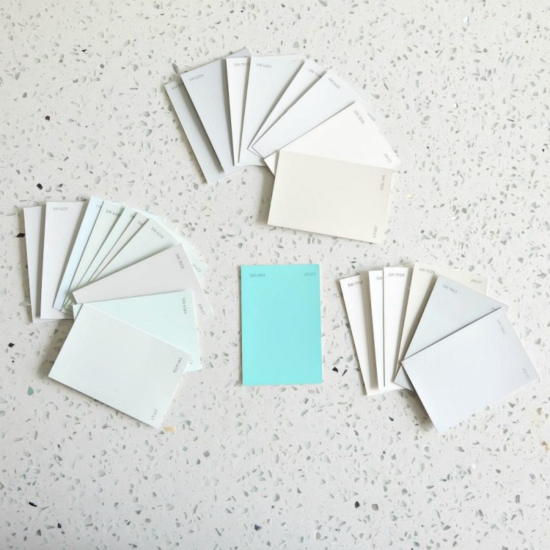 Choosing a paint color for a kitchen remodel can be hard! Hello Creative Family walks through the design process of coming up with a kitchen color palette with the help of Sherwin-Williams. #Sponsored #DIY #Kitchen #Remodel #Turquoise #Aqua #Teal