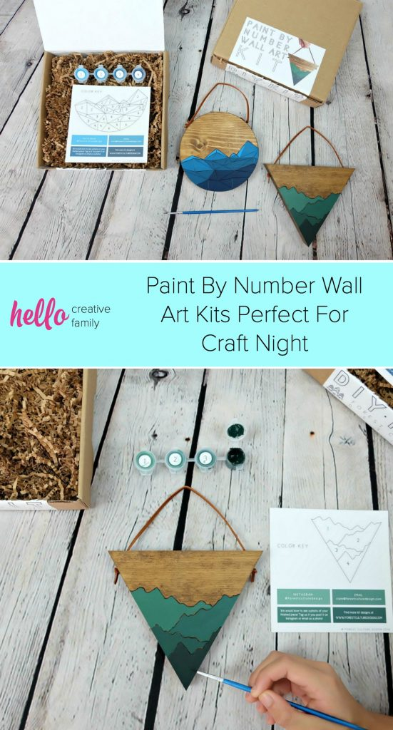 These DIY Paint By Number Wall Art Kits are so much fun for a craft night with family or friends. Makes a great handmade gift idea! #DIY #WoodArt #WallArt #Handmade