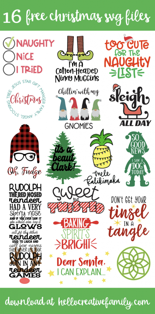 We're back with more free Christmas Cut Files! Make Christmas Crafts with your Cricut Maker, Cricut Explore or Silhouette Cameo with these adorable free Christmas svg files! #Cricut #CutFiles #Silhouette #ChristmasSVG