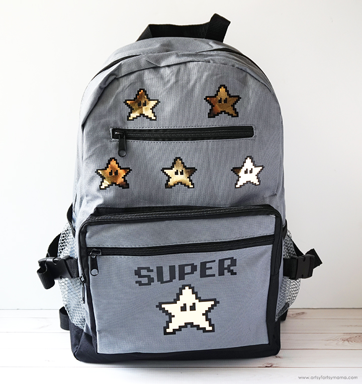 27 Cricut Gift Ideas That Take 1 Hour Or Less To Make: Super Star Backpack From Artsy Fartsy Mama