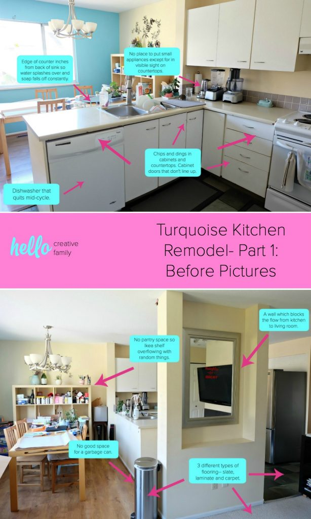 Follow along as Hello Creative Family's 80's kitchen goes from drab to fab. This townhouse kitchen remodel turned out amazing. #kitchenremodel #kitchen #renovation #DIY