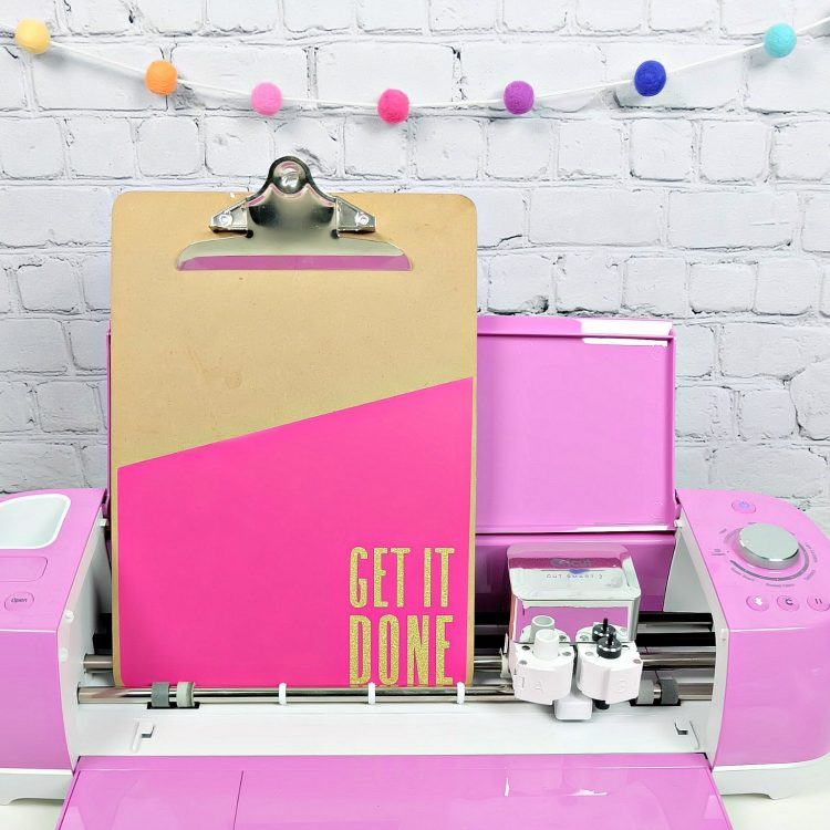 "Set your goals for the New Year and then get them done with our DIY Clipboard Decal! Give your planning clipboard a bit of bling with a colorful cover and a ""Get It Done"" quote. Find the free SVG cut file and step by step tutorial for this easy 5 minute project! #Planning #Goals #Cricut #CricutCreated #SVG #CutFile #Silhouette"