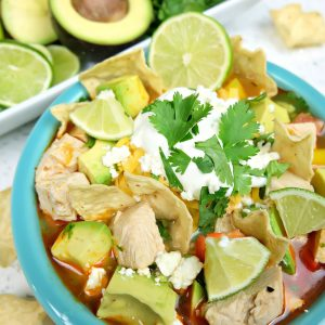 Take those Christmas or Thanksgiving Turkey Leftovers and turn them into an incredible delicious and healthy meal your family will love with this Turkey Tortilla Soup Recipe! Perfect to warm you up on a cool day! #Sponsored #Turkey #Soup #Recipe #TurkeyTraditions