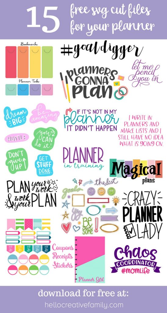We're sharing 15 free svg cut files for your planner so that you can get 2020 planning underway including planner stickers and folders! Whether you use a bullet journal, a Happy Planner or an Erin Condren Life Planner you are going to love these free cut files! Make them using your Cricut Maker, Cricut Explore or Silhouette Cameo #Cricut #SVGFiles #Planner #CutFiles #HappyPlanner #Silhouette