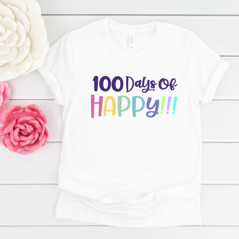 Free 100 Days of Happy SVG file perfect for making DIY 100 days shirts using your Cricut Maker, Cricut Explore or Silhouette Cameo! With our free cut files we make Cricut crafts fun and easy! #Cricut #Silhouette #CutFiles #FreeSVG #100Days #100daysofschool