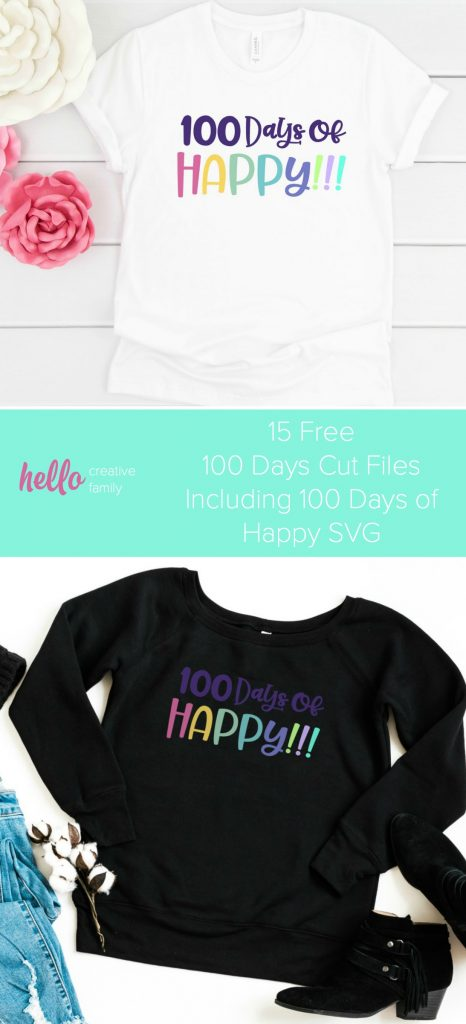 Free 100 Days of Happy SVG file perfect for making DIY 100 days shirts using your Cricut Maker, Cricut Explore or Silhouette Cameo! Plus 15 more free 100 Days SVGs! With our free cut files we make Cricut crafts fun and easy! #Cricut #Silhouette #CutFiles #FreeSVG #100Days #100daysofschool