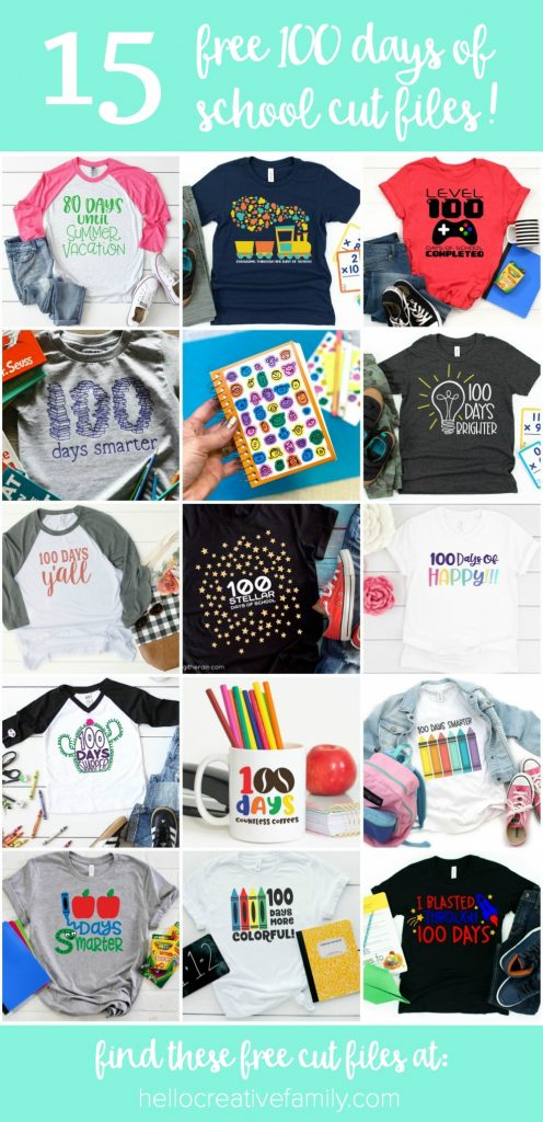 Find 15 free bright and colorful 100 days cut files for making DIY 100 Days of School shirts for teachers or students using your Cricut Maker, Cricut Explore or Silhouette Cameo! With our free cut files we make  Cricut crafts fun and easy! #Cricut #Silhouette #CutFiles #FreeSVG #100Days #100daysofschool