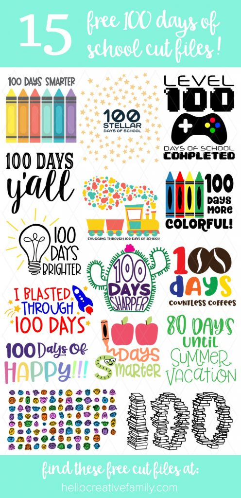 Find 15 free bright and colorful 100 days cut files for making DIY 100 Days of School shirts using your Cricut Maker, Cricut Explore or Silhouette Cameo! With our free cut files we make Cricut crafts fun and easy! #Cricut #Silhouette #CutFiles #FreeSVG #100Days #100daysofschool