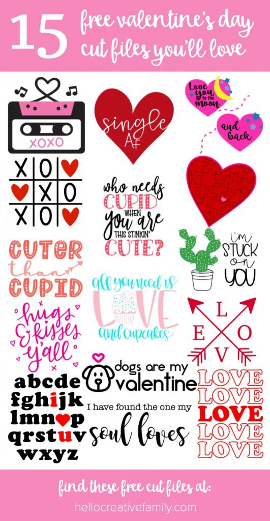 Get crafting for the season of love with 15 free Valentine's Day Cut Files! Find the cutest free SVG files to cut with your Cricut Maker, Cricut Explore or Silhouette Cameo to make adorable easy DIY Valentine's Day Crafts! #Cricut #CutFiles #ValentinesDay #ValentinesDayCrafts #CricutCrafts #HandmadeValentines