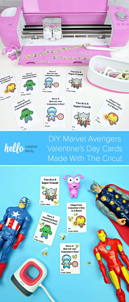 Cricut makes personalized classroom Valentine's Day cards so easy! We're making DIY Marvel Avengers Valentine's Day Cards that your kids can personalize with iron-on stickers. Make this fun and simple Print and Cut Cricut craft with your kids in less time than it would take to run to the store to buy boxed Valentines! #Sponsored #Cricut #CricutCreated #Avengers #Marvel #ValentinesDay #Valentinesdaycrafts