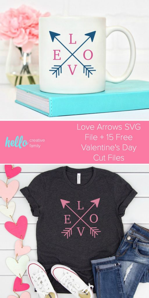 Get crafting for the season of love with 15 free Valentine's Day Cut Files including love arrows! Find the cutest free SVG files to cut with your Cricut Maker, Cricut Explore or Silhouette Cameo to make adorable easy DIY Valentine's Day Crafts! #Cricut #CutFiles #ValentinesDay #ValentinesDayCrafts #CricutCrafts #HandmadeValentines