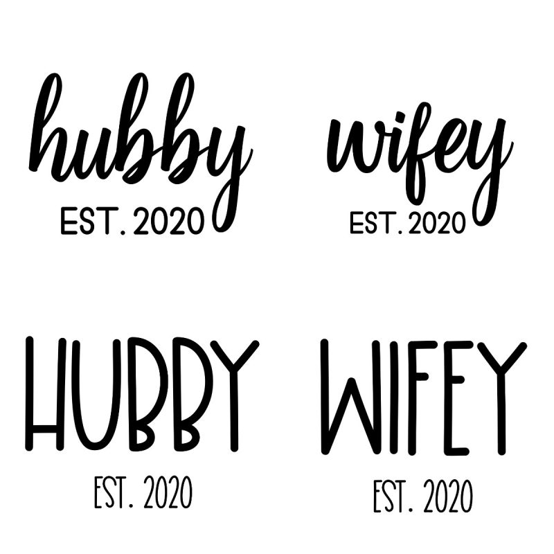 Whether you are planning your wedding, or are celebrating an anniversary, you're going to love our free Hubby and Wifey cut files! We're sharing 16 free wedding svg files that are perfect for easy crafts for wedding planning, wedding showers, bachelorette parties, honeymoons and more! These cut files are compatible with the Cricut Maker, Cricut Explore, Silhouette Cameo and other cutting machines! #Wedding #JustMarried #Crafts #Cricut #Silhouette #Hubby #Wifey