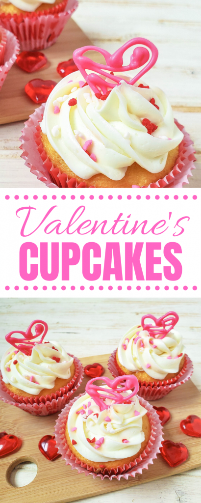 Looking for an easy, last minute Valentine's Day treat idea? Check out these Easy Valentine's Day Cupcakes! Made with a vanilla cake mix, these get their wow factor from diy edible candy hearts on top! Fun for baking with kids! #ValentinesDay #Cupcakes #Baking #BakingWithKids