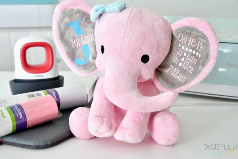 Stuffed animal personalized using a Cricut and HTV.