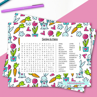 Download our free spring word search printable. Filled with great spring vocabulary words as well as a bright and colorful spring background. This words search printable will keep kids entertained, busy and learning! Perfect for homeschooling. #Printable #kidsactivities #wordsearch #spring